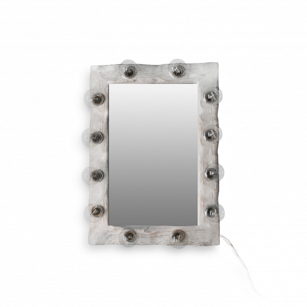 Зеркало с подсветкой Cube_SНастенные<br><br><br>stock: 0<br>Высота: 60<br>Ширина: 10<br>Длина: 45<br>Количество ламп: 12<br>Материал арматуры: Сосна<br>Мощность лампы: 40<br>Ламп в комплекте: Нет<br>Напряжение: 230<br>Тип лампы/цоколь: E27<br>Цвет арматуры: Белый<br>Цвет провода: Белый
