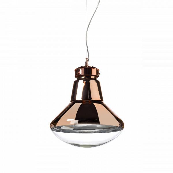 Подвесной светильник Strack 1Подвесные<br>В наш век постмодернизма и эклектики дизайнеры ищут вдохновения повсюду: от окружающей повседневности до инновационных изобретений будущего. Поэтому для подвесного светильника Strack 1 они выбрали узнаваемую форму лампочки накаливания и слегка модифицировали, получив в итоге напоминающий летающую тарелку абажур.<br><br><br> Эта минималистичная лампа отлично подойдет для создания хай-тек-атмосферы, но будет уместно смотреться и с более нейтральными предметами, главное не делать контрасты слишко...<br><br>stock: 7<br>Высота: 80<br>Длина: 30<br>Длина провода: 150<br>Количество ламп: 1<br>Материал абажура: Стекло<br>Мощность лампы: 40<br>Ламп в комплекте: Нет<br>Напряжение: 220<br>Тип лампы/цоколь: E27<br>Цвет абажура: Золото розовое<br>Цвет провода: Черный