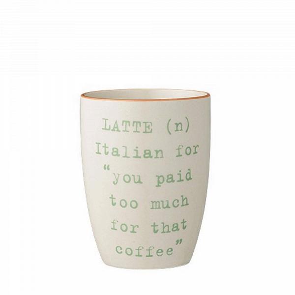 Кружка Latte GreenПосуда<br><br><br>stock: 0<br>Высота: 10<br>Материал: Керамика<br>Цвет: Слоновая кость<br>Диаметр: 8
