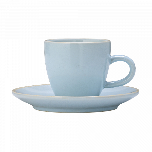 Чашка с блюдцем Bloomingville голубаяПосуда<br><br><br>stock: 0<br>Высота: 5,5<br>Материал: Керамика<br>Цвет: Голубой<br>Диаметр: 8; 11,5