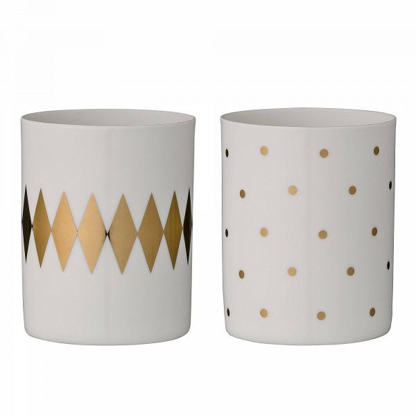 Набор из 2 подсвечников Gold Zigzug &amp; PeasПодсвечники и свечи<br><br><br>stock: 0<br>Высота: 8<br>Материал: Фарфор<br>Цвет: Белый<br>Диаметр: 6