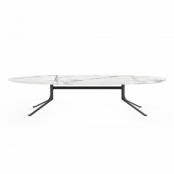 Кофейный стол Blink с каменной столешницей овальныйКофейные столики<br>Кофейный стол Blink с каменной столешницей овальный представляет собой простое классическое изделие. Однако сразу привлекают внимание его удивительные размеры и форма – на таком столе удобно устраивать небольшие фуршеты и чаепития с друзьями, на нем можно играть в настольные игры, он прекрасно будет смотреться в сочетании с декоративными элементами, например с цветочной вазой или фигурными салфетницами.<br><br><br> Мебель из натурального камня – это настоящее украшение домашнего интерьера. Вели...<br><br>stock: 0<br>Высота: 38<br>Ширина: 60<br>Длина: 177,5<br>Цвет ножек: Черный<br>Цвет столешницы: Белый<br>Тип материала столешницы: Натуральный камень<br>Тип материала ножек: Сталь