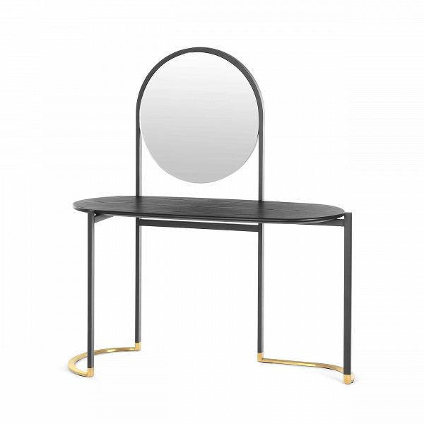 Консоль Blink VanityРабочие столы<br>Компания Stellar Works создает удивительно красивую мебель, в дизайне которой гармонично сочетаются западные и восточные стили. Консоль Blink Vanity может похвастаться очень интересным дизайном, в котором сошлись утонченные черты и функциональность. Консоль напоминает собой волшебную картину, где круглое зеркало – солнце, которое восходит над морской гладью.<br><br><br> Эта модель выполнена из стали и ясеневого шпона. Самое лучшее в этом сочетании – это надежность и долговечность изделия. Шпон...<br><br>stock: 0<br>Высота: 145<br>Ширина: 51<br>Длина: 134<br>Цвет столешницы: Черный<br>Материал столешницы: Шпон ясеня<br>Тип материала каркаса: Сталь<br>Тип материала столешницы: Дерево<br>Цвет каркаса: Черный, Латунь
