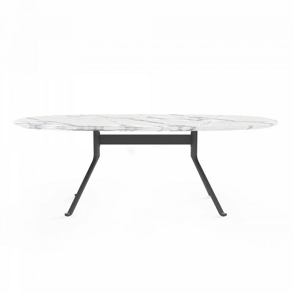 Обеденный стол Blink с каменной столешницей овальныйОбеденные<br>Обеденный стол Blink с каменной столешницей овальный – это потрясающе красивое изделие, которое станет великолепным элементом стильного домашнего интерьера. Изделия из камня позволяют не только украсить дом, но и сделать его более уютным – такая мебель требует совсем небольшого ухода, а ее гладкая поверхность придает интерьеру еще более ухоженный, аккуратный вид.<br><br><br> Мебель из натурального камня – это настоящее украшение домашнего интерьера. Величественный вид этого материала способен о...<br><br>stock: 0<br>Высота: 72<br>Ширина: 110<br>Длина: 212,5<br>Цвет ножек: Черный<br>Цвет столешницы: Белый<br>Материал ножек: Сталь<br>Тип материала столешницы: Натуральный камень