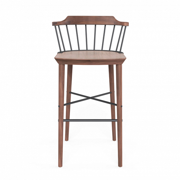 Барный стул ExchangeБарные<br>Барные стулья все активнее набирают популярность в дизайне современных кухонных комнат. И не зря! Такие предметы домашнего интерьера необычайно удобны и функциональны, и, к тому же, они могут считаться той самой изюминкой в привычной обстановке домашней кухни! Барный стул Exchange от компании Stellar Works обладает универсальным, но очень интересным дизайном – в нем тесно переплетаются черты консерватизма и самых современных интерьерных стилей.<br><br><br> Еще больше очарования и притягательно...<br><br>stock: 0<br>Высота: 100,4<br>Высота сиденья: 75<br>Ширина: 52,6<br>Глубина: 50,6<br>Цвет спинки: Черный<br>Материал каркаса: Массив ореха<br>Тип материала каркаса: Дерево<br>Тип материала спинки: Сталь<br>Цвет каркаса: Орех