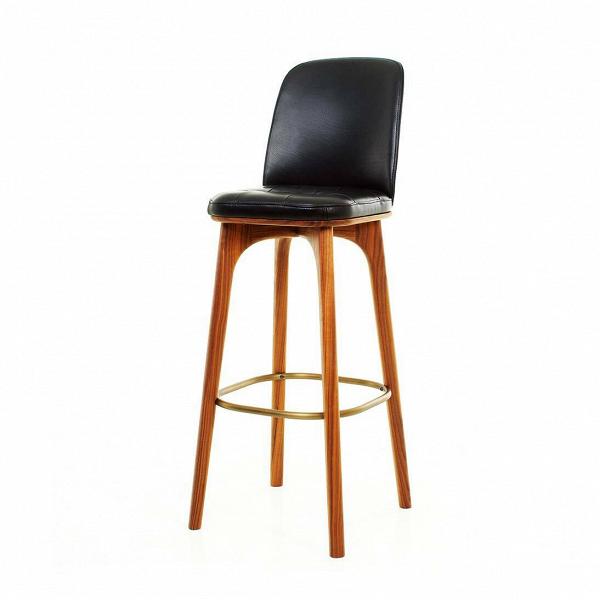 Барный стул Utility со спинкой высота 76Барные<br>Барные стулья созданы для создания максимального комфорта в интерьере домашней кухни. Барный стул Utility со спинкой высота 76 прекрасно справится с этой задачей. Дизайнеры компании Stellar Works сделали его не только удобным, но и стильным: великолепно обработанное дерево в сочетании с натуральной кожей черного цвета потрясающе красиво смотрится в самых богатых интерьерах.<br><br><br> Древесина ясеня ценится с древних времен, тогда она была проверена на прочность в качестве луков и стрел. Сей...<br><br>stock: 0<br>Высота: 107.3<br>Высота сиденья: 76<br>Ширина: 38,9<br>Глубина: 45,5<br>Цвет ножек: Орех<br>Материал ножек: Массив ясеня<br>Цвет сидения: Черный<br>Тип материала сидения: Кожа<br>Коллекция ткани: CARESS<br>Тип материала ножек: Дерево