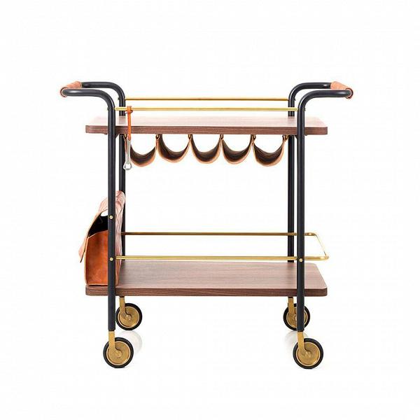 Кофейный стол Valet Bar CartКофейные столики<br>Кофейный стол Valet Bar Cart – это творение набирающей популярность компании Stellar Works, чьи работы отличаются оригинальным стилем и интересным подходом к оформлению деталей. Эта модель стола очень практична и удобна, изделие имеет две поверхности, множество отделений для различных мелких предметов и столовых приборов и даже удобный карман в передней части.<br><br><br> Помимо этого функционала, кофейный стол Valet Bar Cart оснащен колесиками, что позволяет легко перемещать его, просто держас...<br><br>stock: 0<br>Высота: 88<br>Ширина: 53,3<br>Длина: 94,6<br>Цвет ножек: Черный<br>Цвет столешницы: Орех<br>Материал обивки: Кожа<br>Материал столешницы: Шпон ореха<br>Тип материала столешницы: Дерево<br>Тип материала ножек: Сталь<br>Цвет обивки: Темно-оранжевый