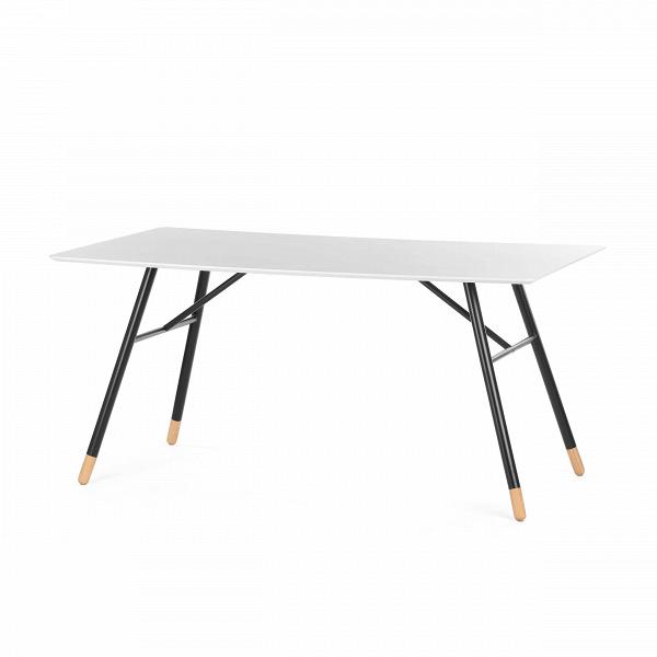 Обеденный стол TamatiОбеденные<br>Обеденный стол Tamati обладает ярким характером стиля хай-тек, в его дизайне гармонично сочетаются контрастные цвета, четкие, ровные линии и безупречный минимализм. Стол отлично подойдет для домашней кухни, а его размеры позволяют сервировать его большим количеством приборов и блюд.<br><br><br> В конструкции данной модели интересно сочетаются сразу три материала: легкая и износостойкая столешница сделана из МДФ, надежная поддерживающая конструкция – из стали, а ножки – из массива бука. Такой инт...<br><br>stock: 30<br>Высота: 75<br>Ширина: 90<br>Длина: 160<br>Цвет ножек: Светло-коричневый<br>Цвет столешницы: Белый<br>Материал каркаса: Металл<br>Материал ножек: Массив бука<br>Тип материала столешницы: МДФ<br>Тип материала ножек: Дерево<br>Цвет каркаса: Черный