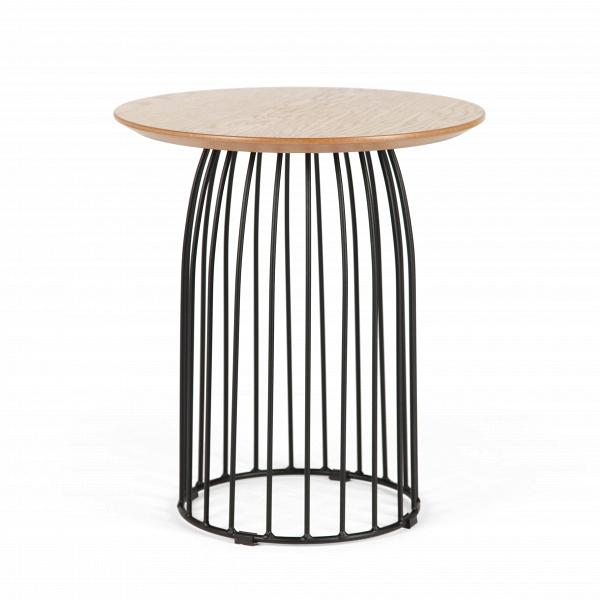 Кофейный стол Bird диаметр 40Кофейные столики<br>Кофейные столики в интерьере играют особенную роль – их призвание состоит в функциональном дополнении и декорировании гостиной комнаты. Кофейный стол Bird диаметр 40 может стать отличным декоративным решением для домашней обстановки. Название модели оправдано ее оригинальным дизайном: вместо тривиального квартета из прямых ножек опорой для стола служит конструкция птичьей клетки.<br><br><br> Дерево в сочетании со стальными элементами приобрело большую популярность в современном интерьере. Такие ...<br><br>stock: 29<br>Высота: 45<br>Диаметр: 40<br>Цвет ножек: Черный<br>Цвет столешницы: Дуб<br>Материал столешницы: МДФ, шпон дуба<br>Тип материала столешницы: МДФ<br>Тип материала ножек: Металл