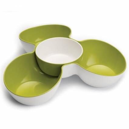 Менажница со съемной чашей Triple DishПосуда<br><br><br>stock: 1<br>Высота: 7,5<br>Ширина: 29,5<br>Материал: Меламин<br>Цвет: Белый<br>Материал арматуры: Пластик