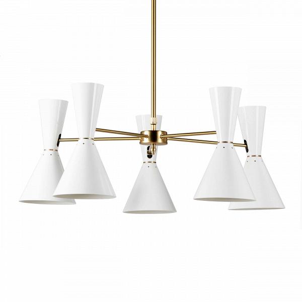 Потолочный светильник Stilnovo Style 5 лампПотолочные<br>Потолочный светильник Stilnovo Style 5 ламп — это яркий и веселый светильник американской компании Stilnovo, которая воспроизводит лампы самых известных дизайнеров XX века и создает новые необычные осветительные приборы.<br><br><br> Этот светильник отличается своим цветовым исполнением. Пять абажуров, выкрашенные в двух вариантах — черном и белом, обязательно будут поднимать вам настроение в холодный зимний день или дождливую пасмурную осеннюю погоду. Тонкие ножки напоминают лучи солнышка, кото...<br><br>stock: 0<br>Высота: 36<br>Диаметр: 76<br>Материал абажура: Сталь<br>Материал арматуры: Сталь<br>Цвет абажура: Белый<br>Цвет арматуры: Латунь