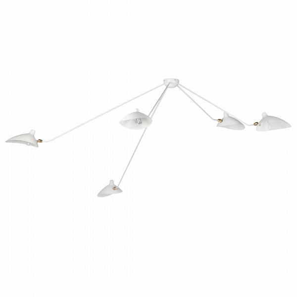 Потолочный светильник Spider 5 лампПотолочные<br>Потолочный светильник Spider 5 ламп — это большая модель потолочного светильника, созданного в 1953 году французским промышленным дизайнером Сержем Муем.<br><br><br> Серж Муй — один из самых известных и титулованных дизайнеров своего времени. Спустя два года после создания этого светильника он стал членом Общества художников и Французского национального художественного общества, завоевал множество наград, а сейчас его работы выставляются в галерее Стефа Симона в Париже. Коллекция, к которой при...<br><br>stock: 2<br>Высота: 85<br>Длина: 258<br>Количество ламп: 5<br>Материал абажура: Металл<br>Материал арматуры: Сталь<br>Мощность лампы: 40<br>Ламп в комплекте: Нет<br>Напряжение: 220-240<br>Тип лампы/цоколь: E14<br>Цвет абажура: Белый<br>Цвет арматуры: Белый<br>Дизайнер: Serge Mouille