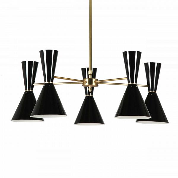 Потолочный светильник Stilnovo Style 5 лампПотолочные<br>Потолочный светильник Stilnovo Style 5 ламп — это яркий и веселый светильник американской компании Stilnovo, которая воспроизводит лампы самых известных дизайнеров XX века и создает новые необычные осветительные приборы.<br><br><br> Этот светильник отличается своим цветовым исполнением. Пять абажуров, выкрашенные в двух вариантах — черном и белом, обязательно будут поднимать вам настроение в холодный зимний день или дождливую пасмурную осеннюю погоду. Тонкие ножки напоминают лучи солнышка, кото...<br><br>stock: 0<br>Высота: 36<br>Диаметр: 76<br>Материал абажура: Сталь<br>Материал арматуры: Сталь<br>Цвет абажура: Черный<br>Цвет арматуры: Латунь