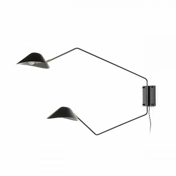 Настенный светильник Collet 2 лампыНастенные<br>Настенный светильник Collet 2 лампы – это функциональный источник освещения, благодаря которому качество освещения окружающей обстановки станет на порядок выше. Главное преимущество этой модели в его двухуровневом формате. Нижний плафон хорошо освещает место перед собой, а верхний – мягко рассеивает свет вокруг.<br><br><br> Светильник особенно привлекателен продуманным дизайном абажуров, благодаря ему свет рассеивается и освещает больше пространства, а не падает узким пучком. Изделие создается ...<br><br>stock: 0<br>Высота: 63<br>Длина: 110<br>Материал абажура: Алюминий<br>Материал арматуры: Металл<br>Цвет абажура: Черный<br>Цвет арматуры: Черный