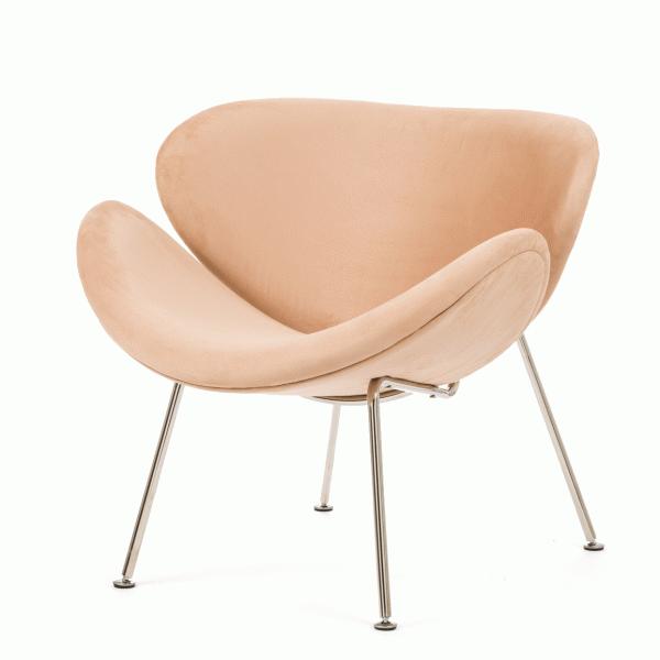 Кресло Orange SliceИнтерьерные<br>Дизайнерское яркое легкое кресло Orange Slice (Орандж Слайс) с тканевой обивкой на высоких ножках от Cosmo (Космо).<br><br><br> Кресло Orange Slice (англ. —В«долька апельсина»), созданное дизайнером Пьером Поленом, впервые было представлено наВвыставке IMM Cologne вВКельне вВ1960 году. Оригинальное кресло состоит изВдвух совершенно одинаковых элементов изВпрессованного бука сВмягкой обивкой, которые закреплены наВхромированном металлическом каркасе. Оно обл...<br><br>stock: 0<br>Высота: 75,5<br>Высота сиденья: 44<br>Ширина: 85<br>Глубина: 79<br>Цвет ножек: Хром<br>Материал обивки: Микрофибра<br>Тип материала ножек: Сталь нержавеющая<br>Цвет обивки: Бежевый<br>Дизайнер: Pierre Paulin