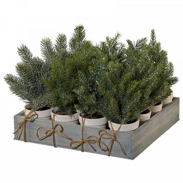 Декоративная ель в горшке TANNEN, в ассорт. (3017717-00)Напольные<br>Артикул: 3017717-00. Стильная и лаконичная декоративная ель TANNEN органично впишется в современный минималистичный интерьер, поможет создать новогоднее настроение и атмосферу уютного праздника. Искусственное деревце, посаженное в бетонный горшок, комфортно устроится на подоконнике, стеллаже консоли или каминной полке. Оно отлично смотрится как самостоятельный декор и дает огромный простор для фантазии – украсьте елку миниатюрными игрушками или светодиодными гирляндами. Цена за один предмет о...<br><br>stock: 54<br>Высота: 25<br>Материал: иск. растение, бетон<br>Цвет: Зеленый<br>Размер: 25
