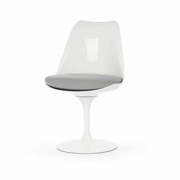 Стул TulipИнтерьерные<br>Дизайнерский стул Tulip (Тьюлип) из стекловолокна на алюминиевой ножке от Cosmo (Космо).<br><br> Стул Tulip — это один из самых знаменитых предметов мебели, он был разработан в 1958 году Ээро Саариненом. Поистине футуристический дизайн и классика модерна. Первый в мире одноногий стул изменил будущее дизайна мебели. Формой стул напоминает бокал или, как видно из названия, — тюльпан. Уникальное основание постамента обеспечивает устойчивость и выглядит эстетически привлекательным. Избавив стул от тр...<br><br>stock: 0<br>Высота: 81<br>Высота сиденья: 46<br>Ширина: 49,5<br>Глубина: 53<br>Цвет ножек: Белый глянец<br>Механизмы: Поворотная функция<br>Тип материала каркаса: Стекловолокно<br>Материал сидения: Шерсть, Нейлон<br>Цвет сидения: Светло-серый<br>Тип материала сидения: Ткань<br>Коллекция ткани: T Fabric<br>Тип материала ножек: Алюминий<br>Цвет каркаса: Белый глянец<br>Дизайнер: Eero Saarinen