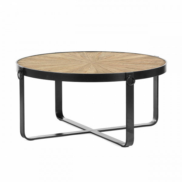 Кофейный стол RajmiКофейные столики<br>Искусственно состаренная мебель очень красиво смотрится в интерьере – с такими элементами обстановки комната приобретает изысканный и утонченный вид. Оригинальный кофейный стол Rajmi не только сделан под старину, мастера придали ему более брутальный вид за счет украшения дерева сталью.<br><br><br> Интересный прием в сочетании дерева и стали не только придает модели более привлекательный вид, но и делает ее надежной и долговечной.<br><br><br> Винтажная мебель уже не считается чем-то диковинным. Помещен...<br><br>stock: 8<br>Высота: 46<br>Диаметр: 100<br>Цвет ножек: Черный<br>Цвет столешницы: Коричневый<br>Материал ножек: Металл<br>Материал столешницы: Массив дуба<br>Тип материала столешницы: Дерево