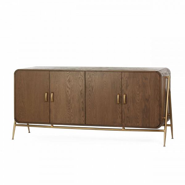 Тумба MallundТумбы и комоды<br>Массивная дубовая мебель привлекает своей величественностью, в интерьере такие изделия играют главную роль и задают настроение всему помещению. Дизайнерская тумба Mallund представляет собой вместительный шкаф, в котором можно хранить самые разные вещи, от одежды и постельного белья до различных бытовых мелочей.<br><br><br> Тумба Mallund сделана в классическом стиле. Модель обладает спокойными, округлыми чертами, насыщенным оттенком дерева и стильно дополняется стальными ножками золотого цвета.<br>...<br><br>stock: 8<br>Высота: 85<br>Ширина: 182<br>Глубина: 45<br>Цвет ножек: Золотой<br>Материал каркаса: Массив дуба<br>Материал ножек: Металл