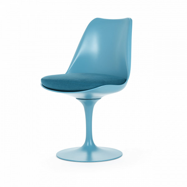 Стул TulipИнтерьерные<br>Дизайнерский стул Tulip (Тьюлип) из стекловолокна на алюминиевой ножке от Cosmo (Космо).<br><br> Стул Tulip — это один из самых знаменитых предметов мебели, он был разработан в 1958 году Ээро Саариненом. Поистине футуристический дизайн и классика модерна. Первый в мире одноногий стул изменил будущее дизайна мебели. Формой стул напоминает бокал или, как видно из названия, — тюльпан. Уникальное основание постамента обеспечивает устойчивость и выглядит эстетически привлекательным. Избавив стул от тр...<br><br>stock: 3<br>Высота: 81<br>Высота сиденья: 46<br>Ширина: 49,5<br>Глубина: 53<br>Цвет ножек: Голубой<br>Тип материала каркаса: Стекловолокно<br>Материал сидения: Шерсть, Нейлон<br>Цвет сидения: Голубой<br>Тип материала сидения: Ткань<br>Коллекция ткани: T Fabric<br>Тип материала ножек: Алюминий<br>Цвет каркаса: Голубой<br>Дизайнер: Eero Saarinen