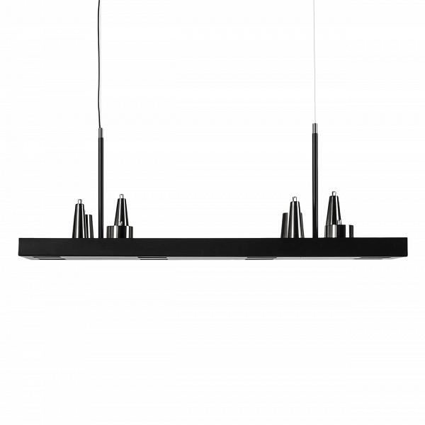 Подвесной светильник Table d'Amis 4Подвесные<br>У этого светильника много необычных деталей, например, шнур, подающий ток, проходит только около одного подвеса, что при определенной игре света, создает ощущение, будто вторая половина светильника висит в воздухе сама по себе. Еще одна особенность — два уровня освещения. Свет исходит не только от причудливых абажуров сверху, но и от ламп, которые располагаются внизу в нишах, сделанных в матово-черном основании светильника. Благодаря этому кажется, что вся конструкция парит в воздухе.<br><br>...<br><br>stock: 0<br>Высота: 150<br>Ширина: 35<br>Диаметр: 123<br>Доп. цвет абажура: Матовый никель<br>Количество ламп: 16<br>Материал абажура: Сталь<br>Мощность лампы: 1<br>Ламп в комплекте: Нет<br>Тип лампы/цоколь: LED<br>Цвет абажура: Черный матовый<br>Дизайнер: William Brand, Annet van Egmond