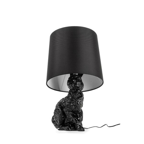 Настольный светильник RabbitНастольные<br>Дизайнерский настольный светильник Rabbit (Рэббит) в форме кролика от Cosmo (Космо).<br><br> Привнесите в ваш интерьер нотку юмора! Забавный, причудливый, но при этом очень практичный настольный светильник Rabbit оживит любую комнату. Пластиковое основание светильника выполнено в форме милого зверька кролика, который словно спрятался и замер под абажуром. Найдут или не найдут? Заметят или нет?<br><br><br> Светильник представляет собой воспроизведение работы шведской дизайнерской группы Front, котор...<br><br>stock: 0<br>Высота: 54<br>Диаметр: 29<br>Количество ламп: 1<br>Материал абажура: Ткань<br>Материал арматуры: Пластик<br>Ламп в комплекте: Нет<br>Напряжение: 220<br>Тип лампы/цоколь: E14<br>Цвет абажура: Черный<br>Цвет арматуры: Черный<br>Дизайнер: Front
