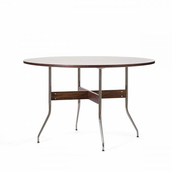 Обеденный стол Wellington круглыйОбеденные<br>Дизайнерская круглый обеденный стол Wellington с деревянной столешницей с тонкими изящными металлическими ножками от Cosmo (Космо).<br>         Обеденный стол — один из важнейших предметов мебели, который служит не только для приема пищи, но и является тем местом в доме, за которым собирается вся семья чтобы побеседовать или просто приятно провести время за настольной игрой.<br><br><br> Стол Wellington круглый имеет одновременно изящную и простую конструкцию. Круглая столешница из американского ореха...<br><br>stock: 1<br>Высота: 75.5<br>Диаметр: 122<br>Цвет ножек: Орех американский<br>Цвет столешницы: Белый<br>Материал ножек: Массив ореха<br>Материал столешницы: Ламинированный МДФ<br>Тип материала каркаса: Сталь нержавеющя<br>Тип материала столешницы: МДФ<br>Тип материала ножек: Дерево<br>Цвет каркаса: Хром
