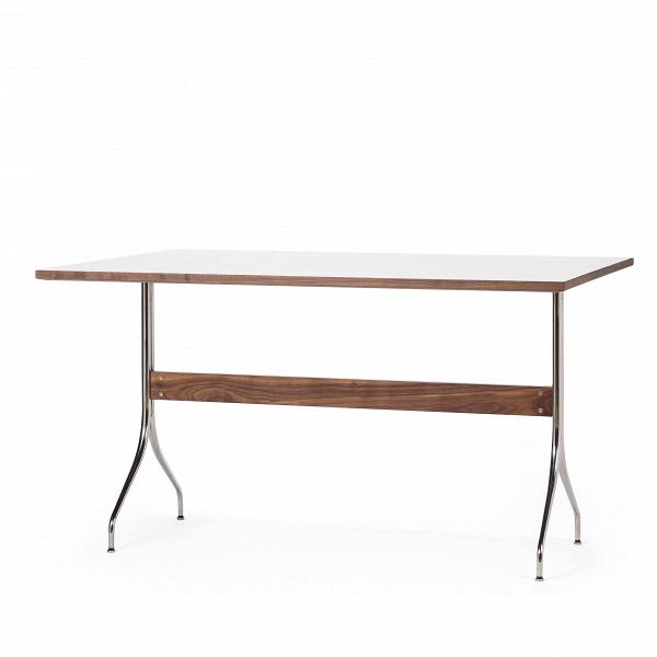 Обеденный стол Wellington прямоугольныйОбеденные<br>Дизайнерская прямоугольный обеденный легкий стол Wellington из дерева и нержавеющей стали от Cosmo (Космо).<br>         Натуральное дерево, прочная и стойкая к ударам меламиновая столешница, надежная стальная опора — обеденный стол Wellington прямоугольный обладает всеми необходимыми качествами, чтобы за ним могла удобно разместиться семья или небольшая компания друзей.<br><br><br>         Благодаря своему оригинальному утилитарному стилю, вдохновленному простотой и качеством скандинавского дизайна, ...<br><br>stock: 3<br>Высота: 75.5<br>Ширина: 91.5<br>Длина: 137<br>Цвет ножек: Орех американский<br>Цвет столешницы: Белый<br>Материал ножек: Массив ореха<br>Материал столешницы: Ламинированный МДФ<br>Тип материала каркаса: Сталь нержавеющя<br>Тип материала столешницы: МДФ<br>Тип материала ножек: Дерево<br>Цвет каркаса: Хром
