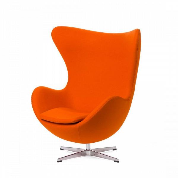 Кресло EggИнтерьерные<br>Дизайнерское комфортное кресло Egg (Эгг) в форме яйца на узкой ножке от Cosmo (Космо).<br><br><br> Кресло, своими очертаниями напоминающее яйцо, — одно из самых известных творений датского дизайнера Арне Якобсена. Вряд ли оно когда-нибудь выйдет из моды — уж слишком велик диапазон его интерьерных возможностей. Кроме того, обыгрывать данную форму помогают различные фактуры и цвета обивок.<br><br><br> Особенно приятно и солидно смотрится оригинальное кресло Egg в обивке из натуральной кожи, представлен...<br><br>stock: 0<br>Высота: 105,5<br>Высота сиденья: 41<br>Ширина: 87<br>Глубина: 82<br>Цвет ножек: Хром<br>Материал обивки: Шерсть, Нейлон<br>Коллекция ткани: T Fabric<br>Тип материала обивки: Ткань<br>Тип материала ножек: Алюминий<br>Цвет обивки: Светло-оранжевый<br>Дизайнер: Arne Jacobsen