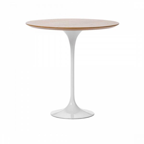 Кофейный стол Tulip с деревянной столешницей высота 52Кофейные столики<br>Дизайнерский кофейный светлый стол Tulip (Тулип) высота 52 на глянцевой ножке с деревянной столешницей от Cosmo (Космо).<br><br><br> Простой и оригинальный во всех отношениях кофейный стол Tulip. Шикарный пример бессмертия дизайнерской мысли. Четкость линий и ничего лишнего. Эргономика, как и во всех шедеврах Ээро Сааринена, просто на высоте. Проекты великого мастера всегда отличаются своей практичностью и красотой. Долгие годы Сааринен не выходит из моды, и сейчас крайне популярен. Изначально, ...<br><br>stock: 1<br>Высота: 52,5<br>Диаметр: 52<br>Цвет ножек: Белый глянец<br>Цвет столешницы: Американский белый дуб<br>Материал столешницы: МДФ, шпон дуба<br>Тип материала столешницы: МДФ<br>Тип материала ножек: Алюминий<br>Дизайнер: Eero Saarinen