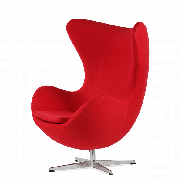 Кресло EggИнтерьерные<br>Дизайнерское комфортное кресло Egg (Эгг) в форме яйца на узкой ножке от Cosmo (Космо).<br><br><br> Кресло, своими очертаниями напоминающее яйцо, — одно из самых известных творений датского дизайнера Арне Якобсена. Вряд ли оно когда-нибудь выйдет из моды — уж слишком велик диапазон его интерьерных возможностей. Кроме того, обыгрывать данную форму помогают различные фактуры и цвета обивок.<br><br><br> Особенно приятно и солидно смотрится оригинальное кресло Egg в обивке из натуральной кожи, представлен...<br><br>stock: 0<br>Высота: 105,5<br>Высота сиденья: 41<br>Ширина: 87<br>Глубина: 82<br>Цвет ножек: Хром<br>Материал обивки: Хлопок, Лен<br>Коллекция ткани: Ray Fabric<br>Тип материала обивки: Ткань<br>Тип материала ножек: Алюминий<br>Цвет обивки: Красный<br>Дизайнер: Arne Jacobsen