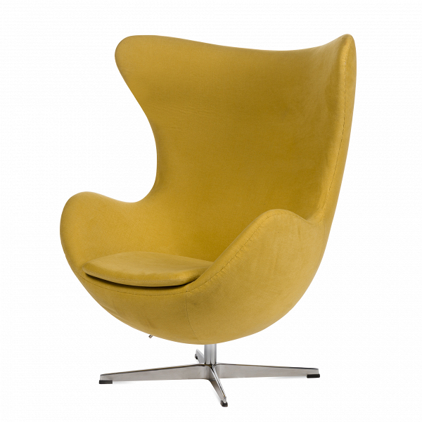Кресло EggИнтерьерные<br>Дизайнерское комфортное кресло Egg (Эгг) в форме яйца на узкой ножке от Cosmo (Космо).<br><br><br> Кресло, своими очертаниями напоминающее яйцо, — одно из самых известных творений датского дизайнера Арне Якобсена. Вряд ли оно когда-нибудь выйдет из моды — уж слишком велик диапазон его интерьерных возможностей. Кроме того, обыгрывать данную форму помогают различные фактуры и цвета обивок.<br><br><br> Особенно приятно и солидно смотрится оригинальное кресло Egg в обивке из натуральной кожи, представлен...<br><br>stock: 0<br>Высота: 105,5<br>Высота сиденья: 41<br>Ширина: 87<br>Глубина: 82<br>Цвет ножек: Хром<br>Материал обивки: Хлопок, Лен<br>Коллекция ткани: Ray Fabric<br>Тип материала обивки: Ткань<br>Тип материала ножек: Алюминий<br>Цвет обивки: Желтый<br>Дизайнер: Arne Jacobsen