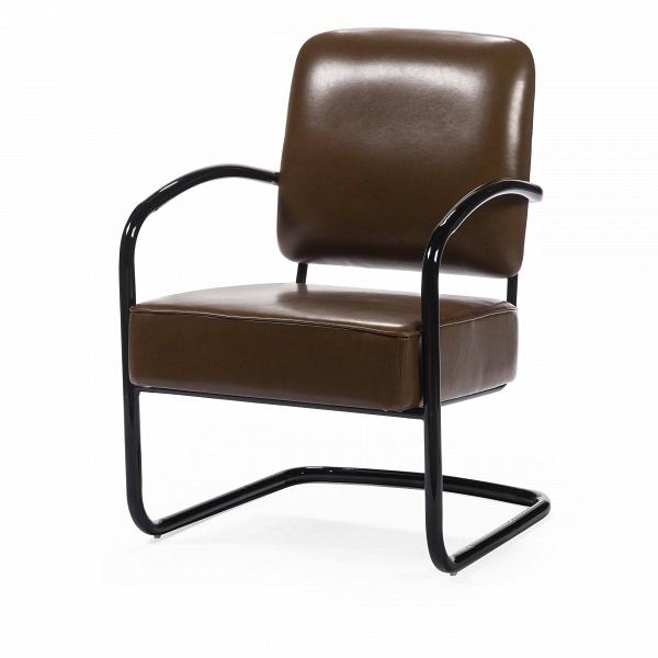 Кресло SuiteИнтерьерные<br>Дизайнерское легкое кресло Suite (Сьют) на черных металлических ножках от Cosmo (Космо).<br><br>Кресло Suite понравится любителям классики. Дизайн кресла прост и лаконичен. Все использованные материалы традиционны для офисной мебели. Кожаная обивка и стальной каркас — непременные атрибуты рабочих кресел, придающие им универсальность и сдержанный облик. Сглаженные углы изделия лишь подчеркивают описанные выше особенности. Однако не любое офисное кресло может придать статусности интерьеру.ВИ...<br><br>stock: 9<br>Высота: 84<br>Высота сиденья: 45<br>Ширина: 58<br>Глубина: 73<br>Тип материала каркаса: Сталь<br>Тип материала обивки: Полиуретан<br>Цвет обивки: Коричневый<br>Цвет каркаса: Черный