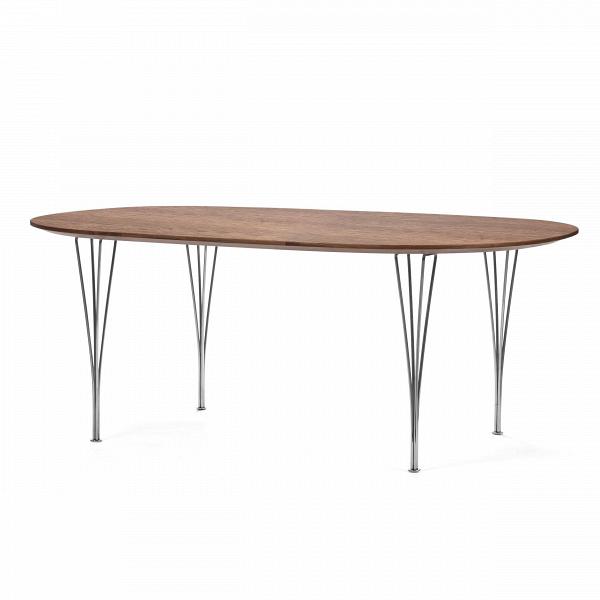 Обеденный стол ReedОбеденные<br>Дизайнерская овальный длинный обеденный стол Reed с деревянной столешницей на тонких стальных ножках от Cosmo (Космо).<br>         Если вы любите большие компании, кулинарные эксперименты и веселые праздники, то без вместительного обеденного стола вам не обойтись. Не обязательно при этом жертвовать любовью к оригинальному дизайну и выбирать скучные стандартные варианты. Этот стол удачно воплощает в себе идеальное соотношение габаритов (его размеры 180 на 120), формы (на вытянутом овале поместит...<br><br>stock: 4<br>Высота: 71<br>Ширина: 120,2<br>Длина: 180,2<br>Цвет ножек: Хром<br>Цвет столешницы: Орех американский<br>Материал столешницы: Фанера, шпон ореха<br>Тип материала столешницы: Фанера<br>Тип материала ножек: Сталь нержавеющая