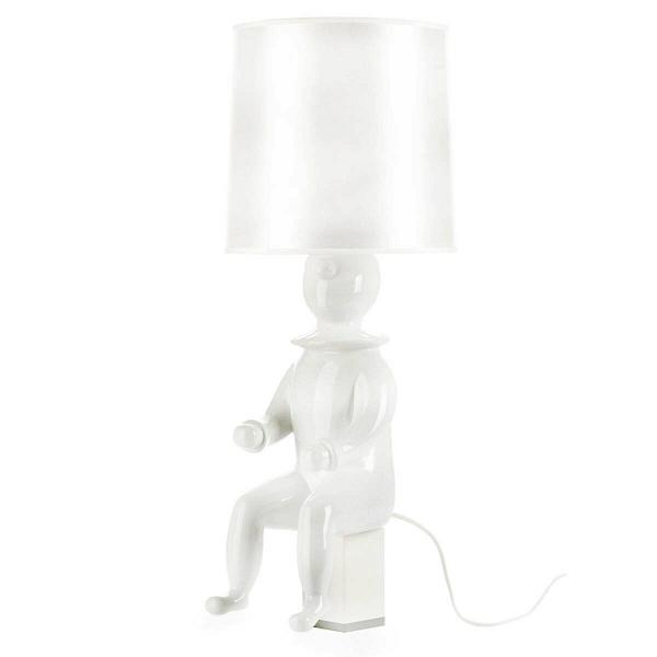 Настольная лампа ClownНастольные<br>Дизайнерская настольная лампа из керамики Cosmo Clown (Космо Клоун)<br><br><br> Маленький клоун в огромном цилиндре замер перед следующей шуткой. Что выкинет он сейчас? Достанет из рукава букет бумажных незабудок, вытащит из шляпы котенка или выпустит воздушные шары? Точно одно: он сделает атмосферу вашей комнаты светлее.<br><br><br> Настольная лампа Clown, реплика одноименного изделия от Хайме Айона, передает оригинальный стиль этого мастера, творящего на стыке декоративного искусства и дизайна. Все ...<br><br>stock: 0<br>Высота: 60<br>Диаметр: 24<br>Количество ламп: 1<br>Материал абажура: Ткань<br>Материал арматуры: Керамика<br>Ламп в комплекте: Нет<br>Напряжение: 220<br>Тип лампы/цоколь: E27<br>Цвет абажура: Белый<br>Цвет арматуры: Белый<br>Дизайнер: Jaime Hayon