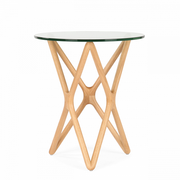 Кофейный стол Triple X высота 56Кофейные столики<br>Дизайнерский высокий узкий кофейный стол Triple X (Трипл Икс) с высотой 56 см со стеклянной столешницей от Cosmo (Космо).<br><br><br> Кофейный столик — незаменимый предмет обихода, который обычно располагается в гостиной или в том месте квартиры, где выделена зона отдыха. Стильный и необычный кофейный стол Triple X высота 56 порадует тех, кто любит комфорт и индивидуальность в интерьере.<br><br><br> Оригинальный кофейный стол Triple X высота 56 компактен и удобен в использовании. Столик изготовлен в д...<br><br>stock: 0<br>Высота: 56<br>Диаметр: 47<br>Цвет ножек: Светло-коричневый<br>Цвет столешницы: Прозрачный<br>Материал ножек: Массив дуба<br>Тип материала столешницы: Стекло закаленное<br>Тип материала ножек: Дерево<br>Дизайнер: Sean Dix