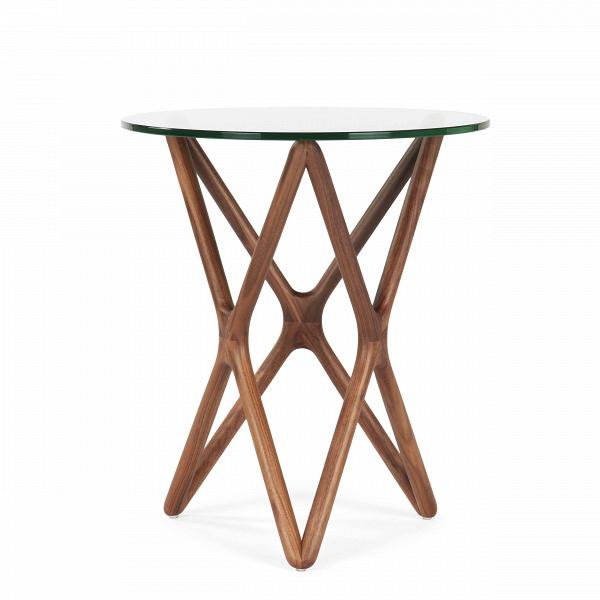 Кофейный стол Triple X высота 56Кофейные столики<br>Дизайнерский высокий узкий кофейный стол Triple X (Трипл Икс) с высотой 56 см со стеклянной столешницей от Cosmo (Космо).<br><br><br> Кофейный столик — незаменимый предмет обихода, который обычно располагается в гостиной или в том месте квартиры, где выделена зона отдыха. Стильный и необычный кофейный стол Triple X высота 56 порадует тех, кто любит комфорт и индивидуальность в интерьере.<br><br><br> Оригинальный кофейный стол Triple X высота 56 компактен и удобен в использовании. Столик изготовлен в д...<br><br>stock: 0<br>Высота: 56<br>Диаметр: 47<br>Цвет ножек: Орех американский<br>Цвет столешницы: Прозрачный<br>Материал ножек: Массив ореха<br>Тип материала столешницы: Стекло закаленное<br>Тип материала ножек: Дерево<br>Дизайнер: Sean Dix