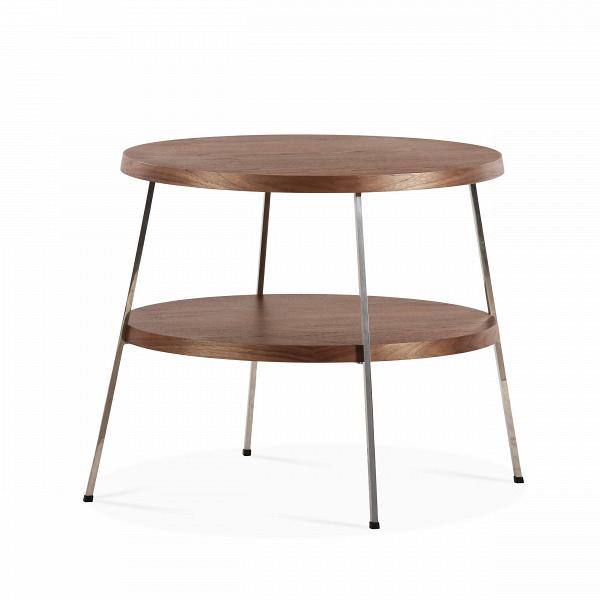 Кофейный стол Two TopКофейные столики<br>Кофейный стол — необязательный, но весьма желательный предмет мебели, который поможет дополнить или завершить интерьер любой гостиной комнаты. Он оказывает большое влияние на атмосферу помещения, дополняя его своей функциональностью и удобством.В<br><br><br> Кофейный стол Two Top, разработанный американским дизайнером Шоном Диксом, имеет необычный дизайн и удивительно удобен в использовании за счет своих двух поверхностей. Мебель Шона Дикса минималистична иВинтеллектуальна, прекрасно ...<br><br>stock: 0<br>Высота: 53,5<br>Диаметр: 60<br>Цвет ножек: Хром<br>Цвет столешницы: Орех американский<br>Материал столешницы: Фанера, шпон ореха<br>Тип материала столешницы: Фанера<br>Тип материала ножек: Сталь нержавеющая<br>Дизайнер: Sean Dix