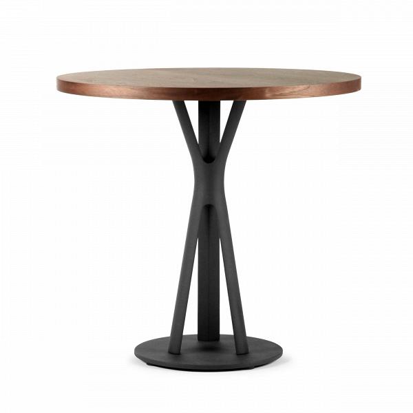 Обеденный стол Split круглыйОбеденные<br>Дизайнерская круглый узкий обеденный стол Split из массива ореха на необычных металлических ножках от Cosmo (Космо).<br>         Обеденный стол играет первую скрипку в столовой, ведь он — центр притяжения всего дома. Он может быть круглым или прямоугольным, раздвижным или миниатюрным, оригинальным или простым, но без него не обойтись. Сегодня на ваш выбор представлены сотни моделей, главное — понять, сколько человек будут регулярно за ним усаживаться и каким целям онВбудет служить.<br><br><br>  ...<br><br>stock: 0<br>Высота: 75<br>Диаметр: 80<br>Цвет ножек: Черный матовый<br>Цвет столешницы: Орех американский<br>Материал столешницы: Фанера, шпон ореха<br>Тип материала столешницы: Фанера<br>Тип материала ножек: Сталь<br>Дизайнер: Sean Dix