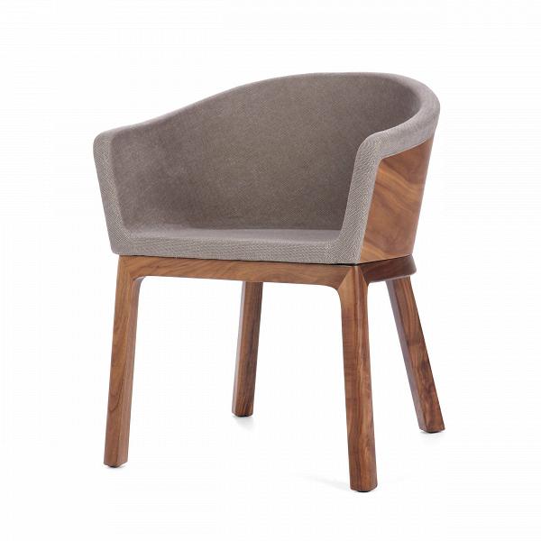 Кресло PalettaИнтерьерные<br>Дизайнерское легкое кресло Paletta (Палетта) на длинных деревянных ножках с закругленной спинкой от Cosmo (Космо).<br><br><br> Мастер функционального дизайна Шон Дикс делает универсальную мебель, которую можно поставить в любом пространстве, будь то небольшая уютная гостиная, шикарное лобби отеля или строгая приемная в офисе. Вот и свое кресло Paletta («кресло-ложечку», именно так с итальянского переводится название) он придумал в качестве идеального предмета мебели дляВлюбого интерьера.<br><br>...<br><br>stock: 1<br>Высота: 74,5<br>Высота сиденья: 45<br>Ширина: 62<br>Глубина: 57,5<br>Цвет ножек: Орех американский<br>Материал каркаса: Фанера, шпон ореха<br>Материал ножек: Массив ореха<br>Материал обивки: Хлопок<br>Тип материала каркаса: Фанера<br>Коллекция ткани: Charles Fabric<br>Тип материала обивки: Ткань<br>Тип материала ножек: Дерево<br>Цвет обивки: Серый<br>Цвет каркаса: Орех американский<br>Дизайнер: Sean Dix