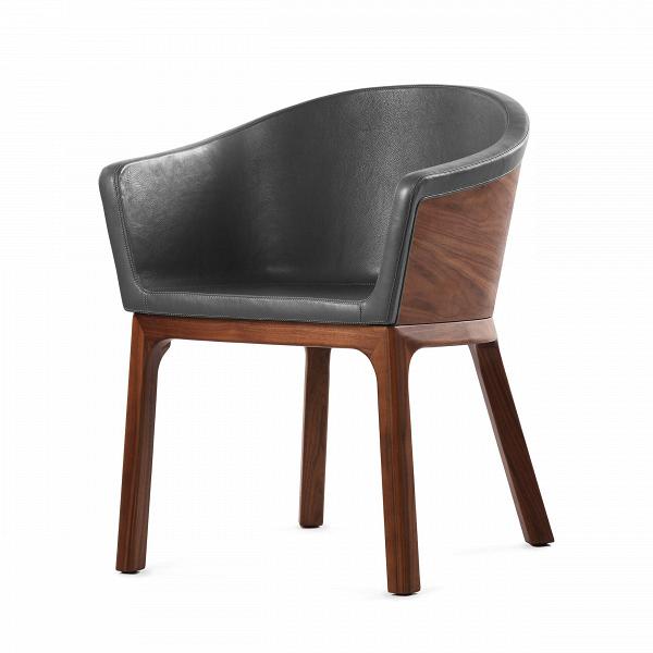 Кресло PalettaИнтерьерные<br>Дизайнерское легкое кресло Paletta (Палетта) на длинных деревянных ножках с закругленной спинкой от Cosmo (Космо).<br><br><br> Мастер функционального дизайна Шон Дикс делает универсальную мебель, которую можно поставить в любом пространстве, будь то небольшая уютная гостиная, шикарное лобби отеля или строгая приемная в офисе. Вот и свое кресло Paletta («кресло-ложечку», именно так с итальянского переводится название) он придумал в качестве идеального предмета мебели дляВлюбого интерьера.<br><br>...<br><br>stock: 0<br>Высота: 74,5<br>Высота сиденья: 45<br>Ширина: 62<br>Глубина: 57,5<br>Цвет ножек: Орех американский<br>Материал каркаса: Фанера, шпон ореха<br>Материал ножек: Массив ореха<br>Тип материала каркаса: Фанера<br>Коллекция ткани: Harry Leather<br>Тип материала обивки: Кожа<br>Тип материала ножек: Дерево<br>Цвет обивки: Темно-серый<br>Цвет каркаса: Орех американский<br>Дизайнер: Sean Dix
