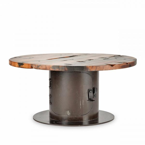 Кофейный стол StoveКофейные столики<br>Дизайнерский креативный кофейный стол Stove (Стоув) со столешницей из состаренного дерева от Cosmo (Космо).<br><br>Кофейный стол Stove обладает дизайном, который невероятно стильно смотрится в домашних интерьерах в стиле лофт, а также в кафе и барах. Необычная форма и стилизация изделия делают его по-настоящему запоминающимся элементом декора. Кажется, будто дизайнер придумал новое применение выведенным из эксплуатации фабричным механизмам. Ножка и столешница по форме напоминают катушку для каб...<br><br>stock: 1<br>Высота: 39<br>Диаметр: 80<br>Цвет ножек: Ржавчина кофейная<br>Цвет столешницы: Коричневый<br>Материал столешницы: Массив состаренного дерева<br>Тип материала столешницы: Дерево<br>Тип материала ножек: Сталь