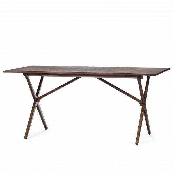 Обеденный стол CrossОбеденные<br>Дизайнерская легкий деревянный обеденный стол Cross прямоугольной формы от Cosmo (Космо).<br>         Этот обеденный стол с Х-образными ножками является одним из знаменитых дизайнов датской классики, созданных ещеВв 60-х годах.<br><br><br> Стол CrossВизготовлен из древесины ясеня или американского ореха. Эти материалы обладают высокой прочностью и красивой текстурой. Ножки изготовлены из такой же качественной древесины и собраны в оригинальную Х-образную конструкцию, которая удивит вас свои...<br><br>stock: 0<br>Высота: 75<br>Ширина: 85.5<br>Длина: 165.5<br>Цвет ножек: Темно-коричневый<br>Цвет столешницы: Орех американский<br>Материал ножек: Массив ясеня<br>Материал столешницы: МДФ, шпон ореха<br>Тип материала столешницы: МДФ<br>Тип материала ножек: Дерево