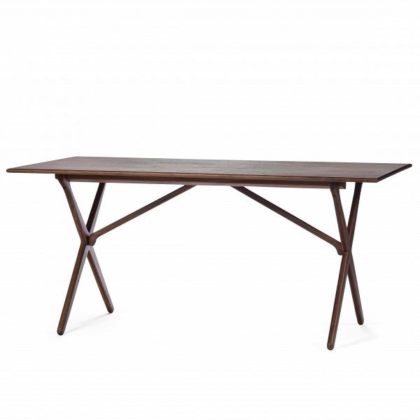 Обеденный стол CrossОбеденные<br>Дизайнерская легкий деревянный обеденный стол Cross прямоугольной формы от Cosmo (Космо).<br>         Этот обеденный стол с Х-образными ножками является одним из знаменитых дизайнов датской классики, созданных ещеВв 60-х годах.<br><br><br> Стол CrossВизготовлен из древесины ясеня или американского ореха. Эти материалы обладают высокой прочностью и красивой текстурой. Ножки изготовлены из такой же качественной древесины и собраны в оригинальную Х-образную конструкцию, которая удивит вас свои...<br><br>stock: 2<br>Высота: 75<br>Ширина: 85,5<br>Длина: 165,5<br>Цвет ножек: Орех американский<br>Цвет столешницы: Орех американский<br>Материал ножек: Массив ореха<br>Материал столешницы: МДФ, шпон ореха<br>Тип материала столешницы: МДФ<br>Тип материала ножек: Дерево