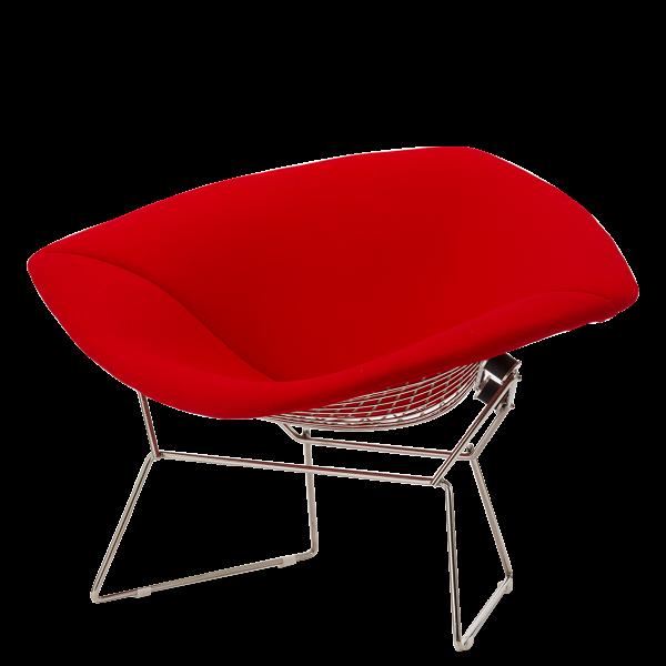 Кресло Diamond с обивкойИнтерьерные<br>Дизайнерское кресло Diamond (Даймонд) с красной тканевой обивкой на стальных ножках от Cosmo (Космо).<br><br><br> Кресло Diamond с обивкой прославило своего создателя, дизайнера Гарри Бертойю. Эта интересная и легкая на вид «сетчатая» мебельВ обладает необычайно комфортным и функциональным дизайном.<br><br><br> Необычное сиденье прекрасно способствует отдыху и создает ощущение комфорта и релаксации. Сиденье закреплено на оригинальной металлической конструкции из стальной сетки, служащей опорой дл...<br><br>stock: 0<br>Высота: 71,5<br>Высота сиденья: 40<br>Ширина: 114,5<br>Глубина: 81<br>Цвет ножек: Хром<br>Материал обивки: Шерсть, Нейлон<br>Коллекция ткани: T Fabric<br>Тип материала обивки: Ткань<br>Тип материала ножек: Сталь нержавеющая<br>Цвет обивки: Красный<br>Дизайнер: Harry Bertoia
