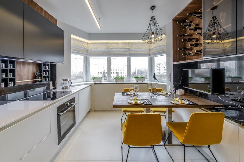 Cosmorelax & «Однушечка»: кухня в мраморном фартуке