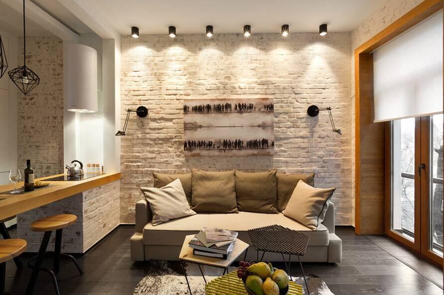 15 идей для небольшой гостиной в стиле лофт