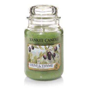Свеча большая  в стеклянной банке Olive & Thyme